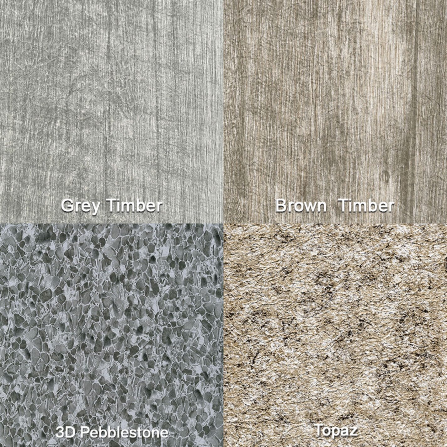 4 Econodek vinyl decking colors; 3D pepplestone, topaz and grey and brown timber