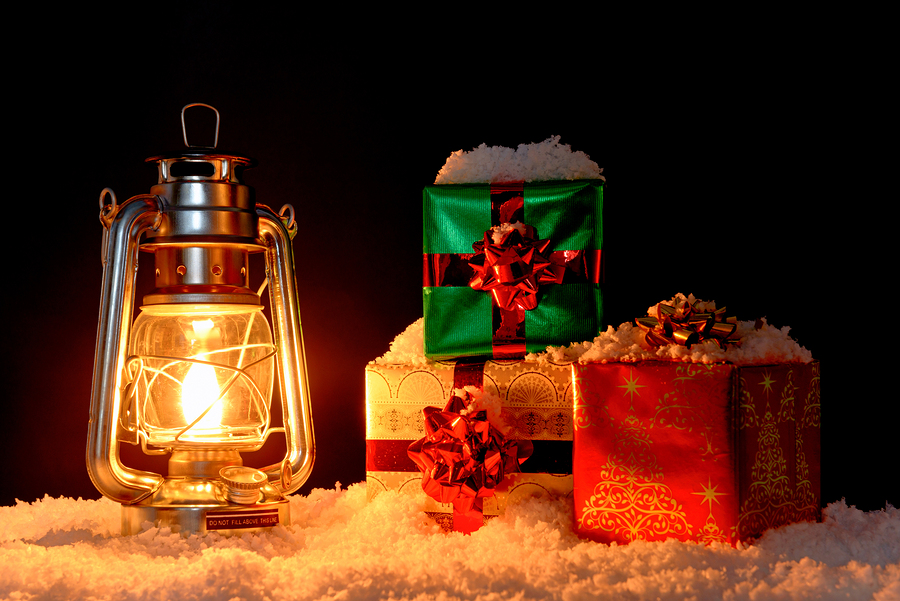 Image of Christmas Gifts and Lighted Lantern - Econodek