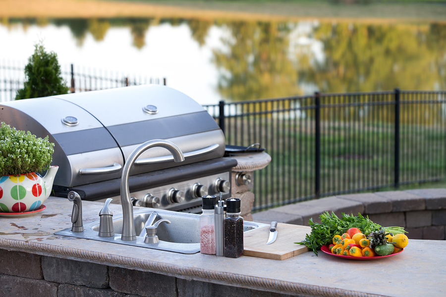 Deck BBQ in an outdoor patio kitchen