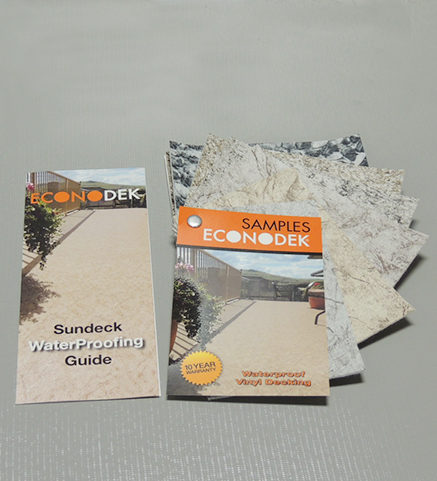 Econodek brochures, samples, and Sundeck Waterproofing Guide