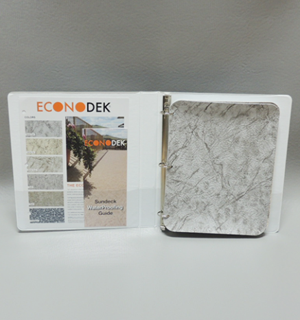 Econodek spine binder with vinyl decking samples