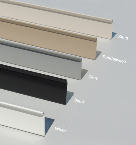 Examples of deck flashing colors in White, Grey, Black, Sand, & Sandlewood - Econodek